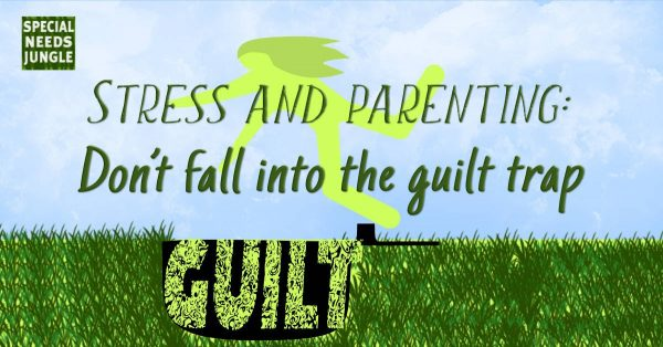 PICTURE OF person falling into a hole with guilt inside it. Title: stress and parenting: dont fall into the guilt trap