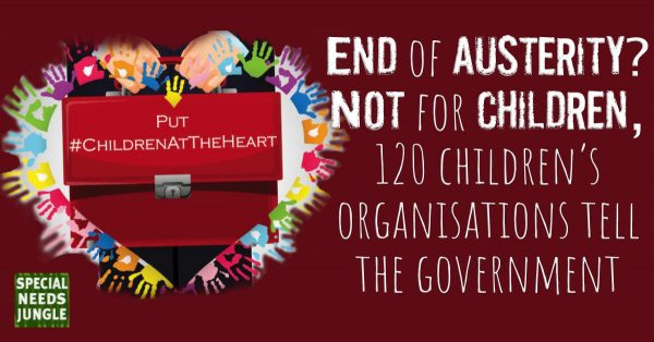 Man holding red box with hashtag children at the heart and words: End of austerity? Not for children, 120 childrens organisations tell the government